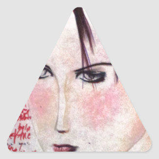 Angry Girl Triangle Sticker