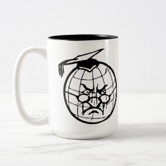 Angry Globe In Mortarboard Professor Teacher Funny Two-Tone Coffee Mug