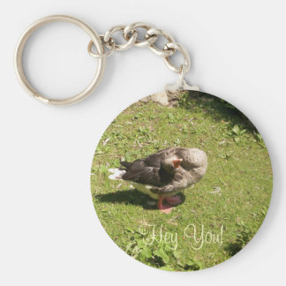 Angry Goose Hey You Keychain