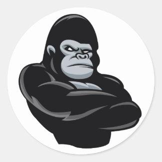 angry  gorilla classic round sticker