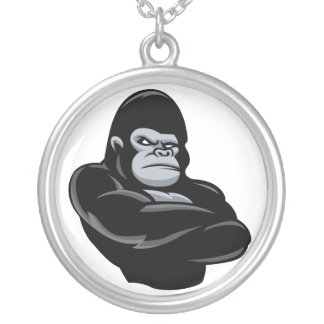 angry  gorilla silver plated necklace