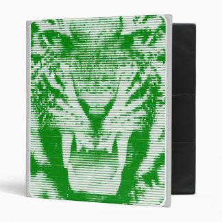 Angry Green Tiger Horizontal Lines Binder