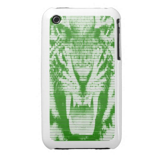 Angry Green Tiger Horizontal Lines iPhone 3 Case-Mate Case