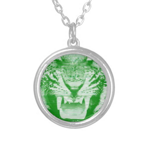 Angry Green Tiger Horizontal Lines Round Pendant Necklace