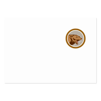 Angry Grizzly Bear Head Circle Cartoon Business Card