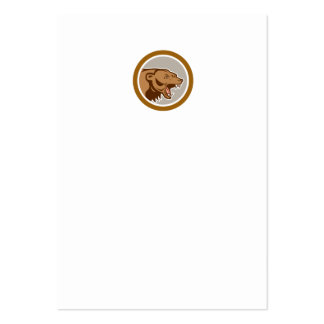 Angry Grizzly Bear Head Circle Cartoon Business Card Template