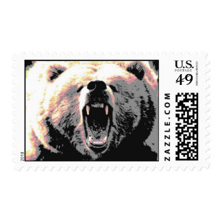 Angry Grizzly Bear Stamps