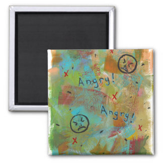 Angry grouchy yuck face mad fun contemporary art 2 inch square magnet