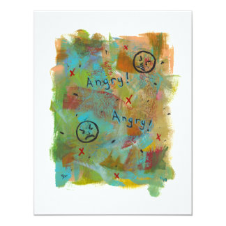Angry grouchy yuck face mad fun contemporary art card