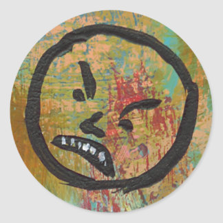 Angry grouchy yuck face mad fun contemporary art round stickers