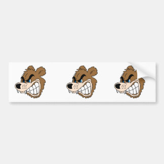 angry growling bear face bumper sticker