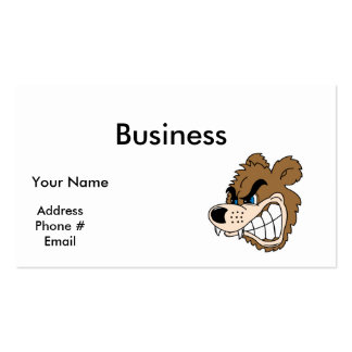 angry growling bear face business card
