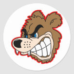 angry growling bear face classic round sticker