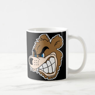 angry growling bear face classic white coffee mug