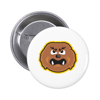 angry hairy monster face 2 inch round button