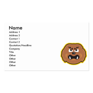 angry hairy monster face business card templates