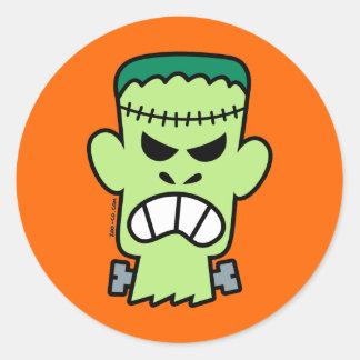 Angry Halloween Frankenstein Classic Round Sticker