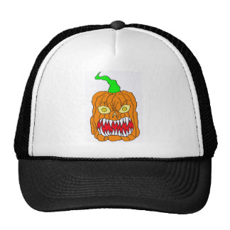 Angry Halloween Pumpkin Art Trucker Hat