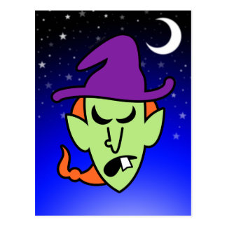 Angry Halloween Witch Postcard