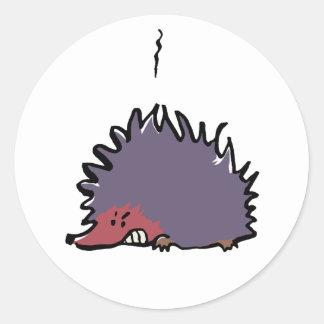angry hedgehog classic round sticker