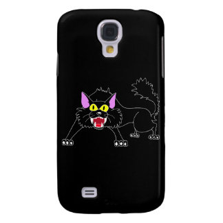 Angry Hissing Black Cat Cartoon Galaxy S4 Case