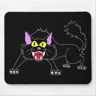 Angry Hissing Black Cat Cartoon Mouse Pad