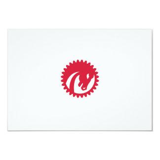 Angry Horse Head Gear Circle Retro Card