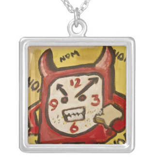 Angry Hungry Alarm Clock Square Pendant Necklace