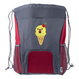 Angry Ice Cream Cone (Lemon) Drawstring Backpack