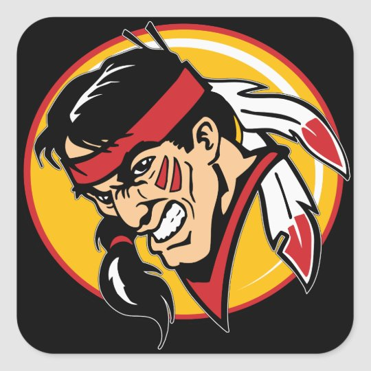 Angry Indian Mascot Square Sticker