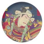 Angry Japanese Samurai Antique Woodblock Print Dinner Plate