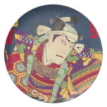Angry Japanese Samurai Antique Woodblock Print Dinner Plate