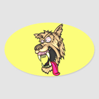 Angry Junkyard Dog Oval Sticker