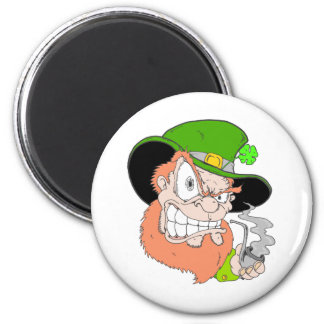 Angry Leprechaun 2 Inch Round Magnet
