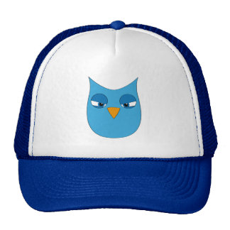 Angry Light Blue Owl Hats