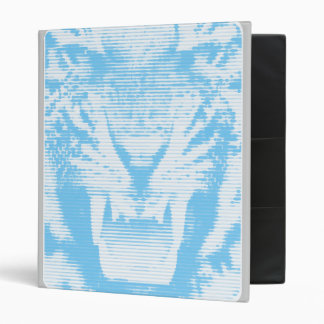 Angry Light Blue Tiger Horizontal Lines 3 Ring Binder