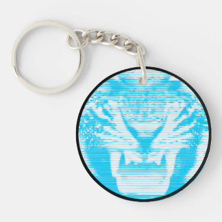 Angry Light Blue Tiger Horizontal Lines Single-Sided Round Acrylic Keychain