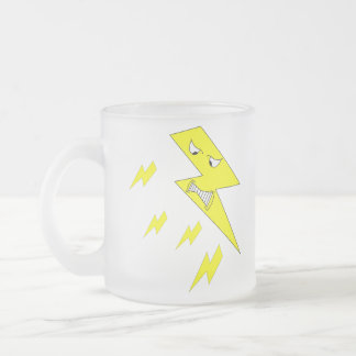 Angry Lightning Bolt. Yellow on White. Frosted Glass Coffee Mug
