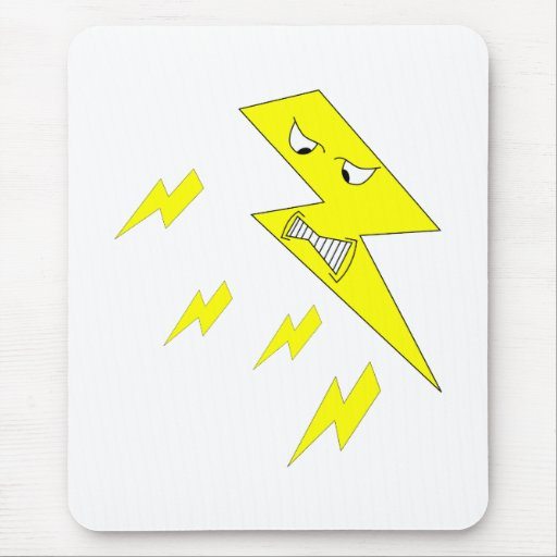 Angry Lightning Bolt. Yellow on White. Mouse Pad