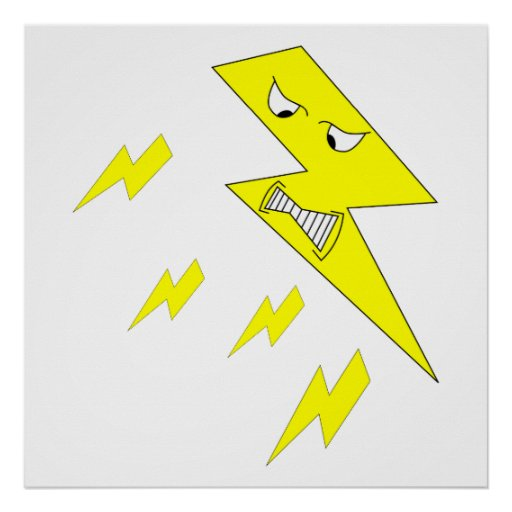 Angry Lightning Bolt. Yellow on White. Print