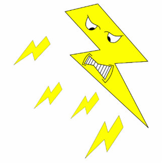 Angry Lightning Bolt. Yellow on White. Statuette