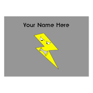 Angry Lightning. Yellow on Gray. Large Business Cards (Pack Of 100)