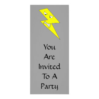 Angry Lightning. Yellow on Gray. Card