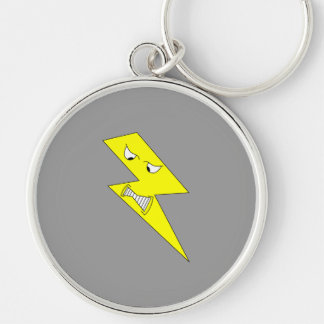 Angry Lightning. Yellow on Gray. Keychain