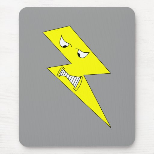 Angry Lightning. Yellow on Gray. Mouse Pad