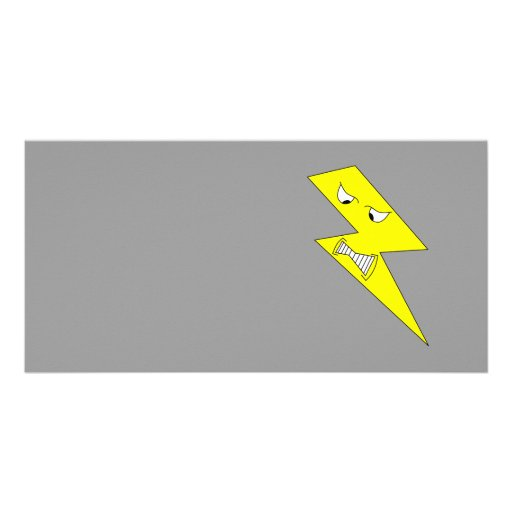 Angry Lightning. Yellow on Gray. Photo Card