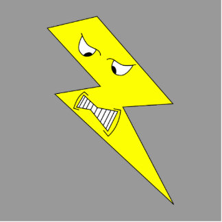 Angry Lightning. Yellow on Gray. Statuette
