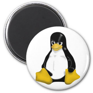 ANGRY LINUX TUX PENGUIN 2 INCH ROUND MAGNET