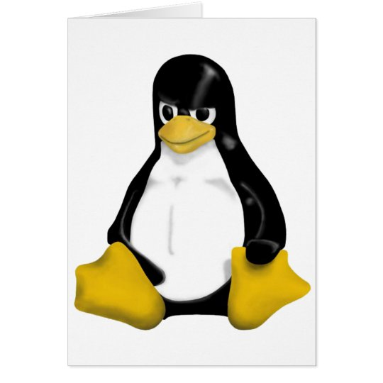 ANGRY LINUX TUX PENGUIN CARD