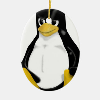 ANGRY LINUX TUX PENGUIN CERAMIC ORNAMENT
